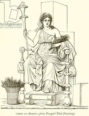 Ceres (or Demeter, from Pompeii Wall Painting) (engraving)