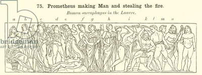 Prometheus making Man and stealing the fire (engraving)
