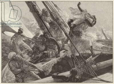 Arab Slave Traders Throwing Slaves Overboard To Avoid Capture (engraving)