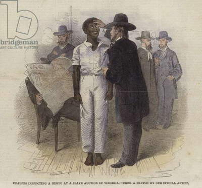 Dealers inspecting a negro at a slave auction in Virginia (coloured engraving)