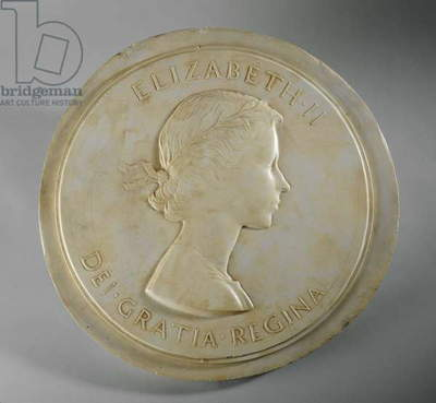 Medallion Portrait of Queen Elizabeth II, c.1952 (plaster)