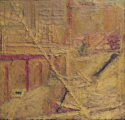 Maples Demolition, Euston Road, 1960 (oil on board)