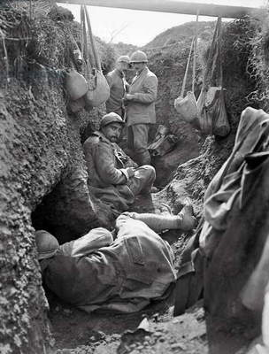 Trenches occupied by French soldiers at Verdun, Cote 304, 1917 (b/w photo)