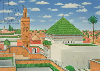 Rooftops, Marrakech, 1998 (acrylic on linen)