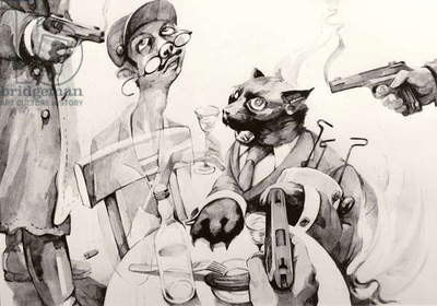 The magician cat causes the dissident cornered by the KGB to vanish into thin air and sets the Writers' Union Canteen on fire, illustration to 'Master and Margarita' by Bulgakov, 1988 (gouache on paper)