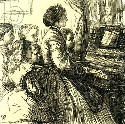 Mama at the Piano U.S.A. Teaching Little Songs to Little Ones Who Are to Sing Them 1866 United States United States of America America