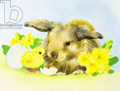 Easter bunny with primrose and chick