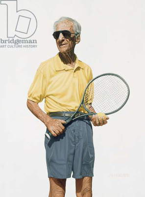 Man with Tennis Racket, 2004 (oil on panel)