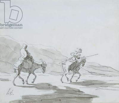 Don Quixote and Sancho Panza, c.1865 (grey wash & black chalk on paper)