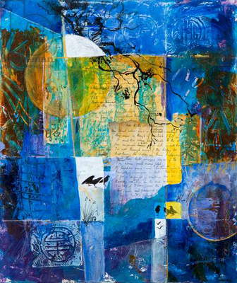 Bright Star, Keats (acrylic collage)