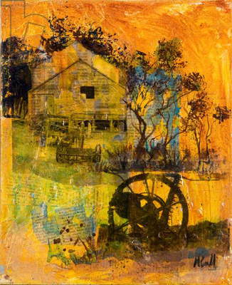 Shearing Shed (acrylic collage on canvas)