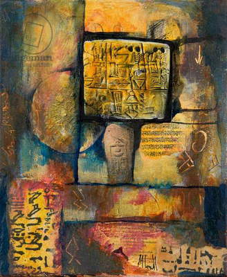 Ancient Scripts (acrylic collage on canvas)