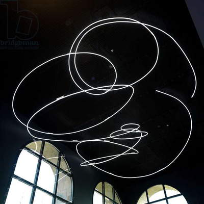 Neon Structure for the 9th Triennale of Milan, by Lucio Fontana, 1951 (2010), 20th - 21th Century, environmental installation, crystal glasstube, diameter 18 mm, white neon light 6500? K, 250 x 1000 x 800 c. cm, diametro 18 mm