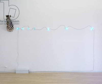 Zebra or Fibonacci, by Mario Merz, 1973, 20th Century, stuffed animal and twelve numbers in neon, animal 40 x 100 x 70 cm, overall dimensions of the installation variable