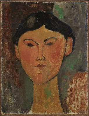 Bèatrice Hastings, by Amedeo Modigliani, 1915, 20th Century, oil on cardboard reported on wood, 43 ? 35 cm