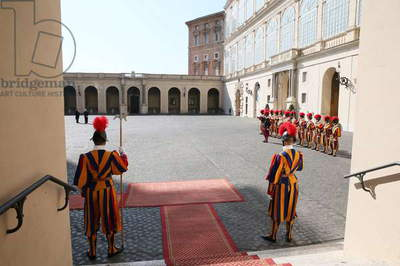 Swiss guards in the courtyard of the Apostolic Palace, Vatican City, Vatican City State