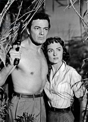 Cornel Wilde and Donna Reed in 'Beyond Mombasa'