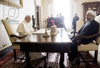 Pope Francis and Hassan Rouhani, Holy See (Vatican City State), 2016 (photo)