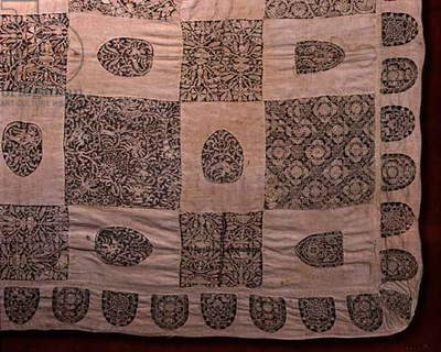 A bedcover attributed in the nineteenth century to Anne Boleyn, thought to be for her daughter, Elizabeth (cut-work)