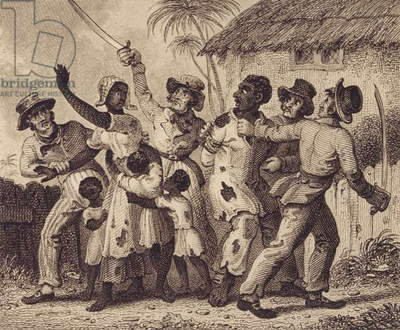 The Separation of a Family of Slaves after Being Seized and Sold Upon a Warrant of Destraint for their Master's Debts, c.1800 (etching and engraving)