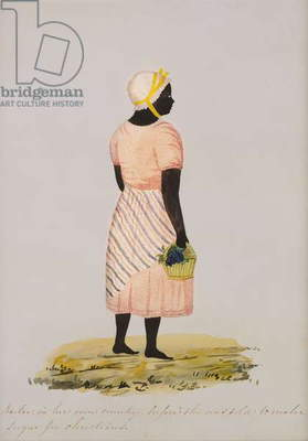'Nulu, in her own country, before she was sold to make sugar for Christians', c.1827 (w/c on watermarked paper and prickwork)