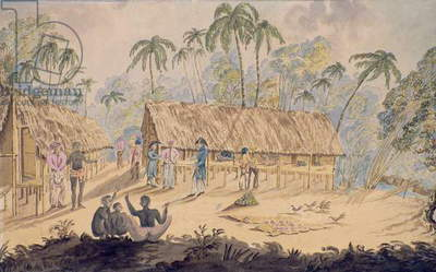 City of Acheen, North West Coast of Sumatra, 1829 (w/c on paper)