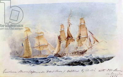 The Slaver 'Carolina' (afterwards HMS 'Fawn') captured in 1838 by the 'Electra' with 350 Slaves on Board, 1838 (w/c on paper)