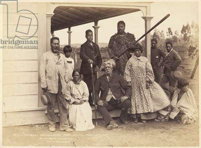 The Great Ngatimaniopoto Chief Wahanaui with family and friends at his house in Alexandra, 7 June 1885 (albumen print)