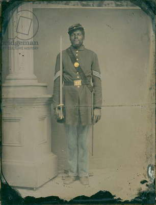 Henry F. Steward, Sergeant in the 54th Massachusetts Volunteer Infantry Regiment, 1863 (hand-coloured quarter-plate ambrotype)