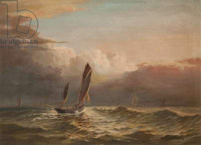 Fishing Boats at Sea (oil on canvas)