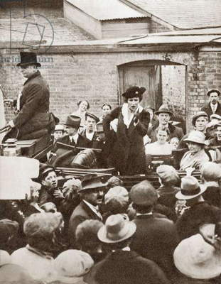 Nancy Witcher Astor, Viscountess Astor, 1879 – 1964.  First woman to sit as a Member of Parliament in the British House of Commons, seen here campaigning during the 1919 Election.  From The Story of 25 Eventful Years in Pictures, published 1935.