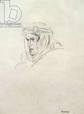 Head of T.E. Lawrence proof for the subscriber's edition of 'The Seven Pillars of Wisdom', c.1926 (litho)
