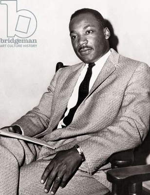 Martin Luther King, American civil rights leader (b/w photo)