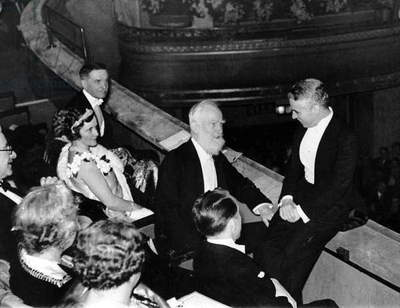 Charlie Chaplin with George Bernard Shaw and Lady Nancy Astor at the Dominion Theatre for the premier of City Lights, London, England, February 1931 (b/w photo)