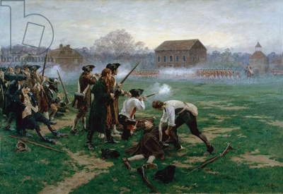 The Battle of Lexington, 19th April 1775, 1910 (oil on canvas)