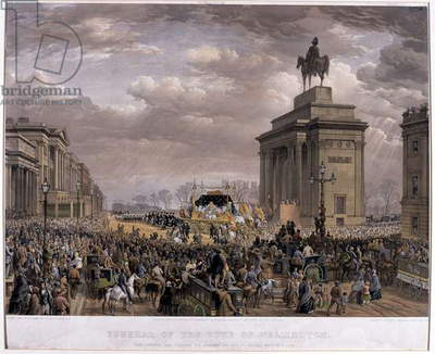 The Duke of Wellington's (1769-1852) funeral car passing the Archway at Apsley House on 18th November 1852, 1853 (colour litho)