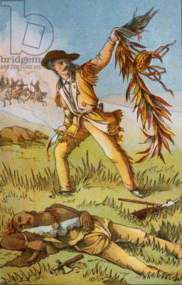 Buffalo Bill's duel with Chief Yellow Hand (colour litho)