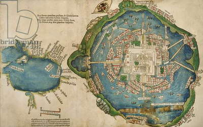 Map of Tenochtitlan and the Gulf of Mexico, from 'Praeclara Ferdinadi Cortesii de Nova maris Oceani Hyspania Narratio' by Hernando Cortes (1485-1547) 1524 (colour litho)