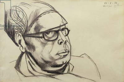 Portrait of Wyndham Lewis, 1955 (charcoal)