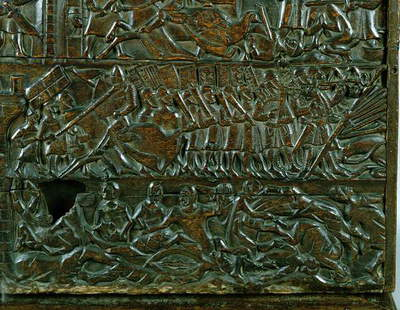 The Courtrai Chest depicting the Flemish line of battle during the Battle of the Golden Spurs, fought at Courtrai in 1302 (wood) (detail)