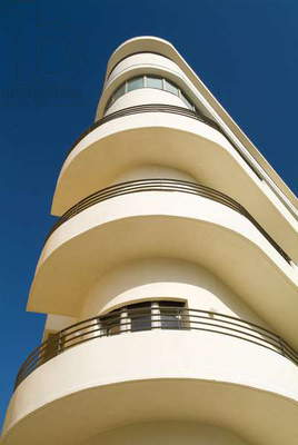 Bauhaus architecture against a blue sky (photo)