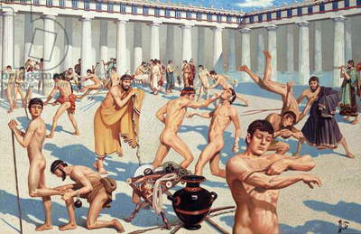 Ancient Greek athletes practice their skills (colour litho)