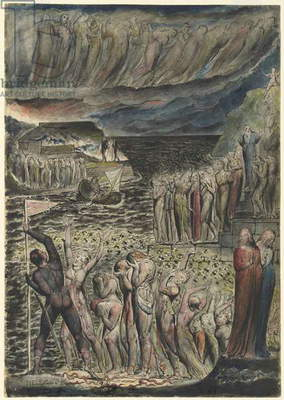 The vestibule of Hell and the souls mustering to cross the Acheron, illustration to the 'Divine Comedy' by Dante Alighieri, 1824-27 (pen & ink with w/c over pencil and chalk)