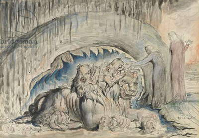 Cerberus,illustration to the 'Divine Comedy' by Dante Alighieri, 1824-27 (pen & ink with w/c over pencil and chalk)