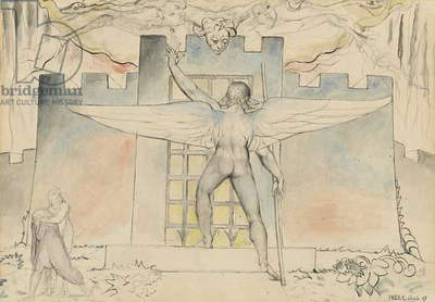 The angel at the gate of Dis, illustration to the 'Divine Comedy' by Dante Alighieri, 1824-27 (pen & ink with w/c over pencil and chalk)