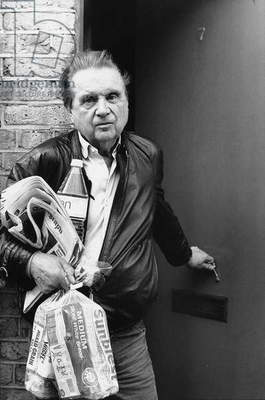 Francis Bacon on his 80th birthday, 1989 (b/w photo)