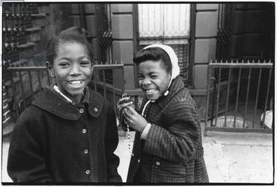 Two girls in Harlem, New York, 1960 (b/w photo)