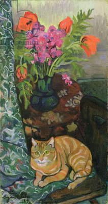 Bouquet and a Cat, 1919 (oil on canvas)