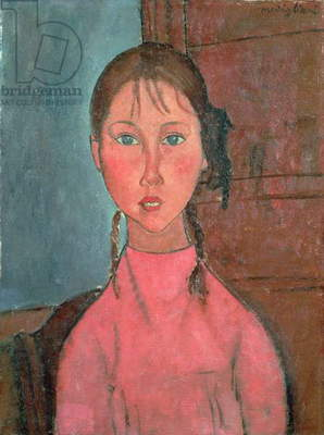 Girl with Pigtails, c.1918 (oil on canvas)