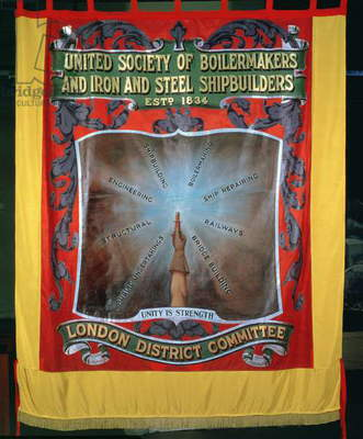 Banner of the United Society of Boilermakers and Iron and Steel Shipbuilders, est.1834